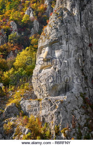 Die Statue des Königs Decebal, Orsova, Eisen Tore Naturpark, Rumänien Stockbild