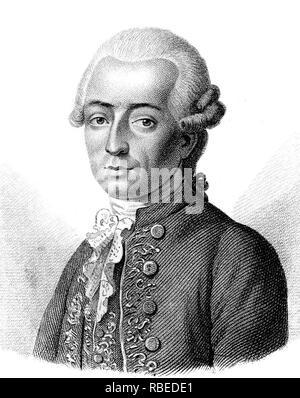 MAXIMILIAN STOLL (1742-1787), österreichischer Arzt Stockbild
