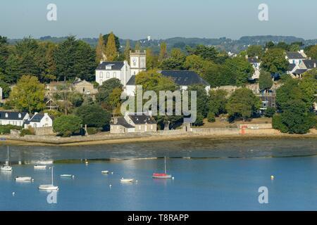 Frankreich, Morbihan, Ile-aux-Moines, Luftaufnahme des Golf von Morbihan und Mönch Insel Stockbild
