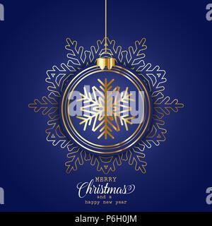 Elegante Weihnachten Hintergrund mit hängenden Christbaumkugel Stockbild