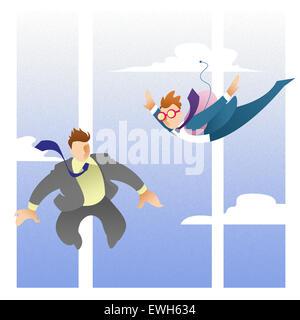 Versicherten Unternehmer an fliegen in der Luft Stockbild