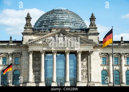 Reichstagsgebäude, Heimat des Deutschen Bundestages, Berlin, Deutschland, Europa Stockbild