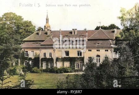 Schloss Pulsnitz, 1910, Landkreis Bautzen, Pulsnitz, Schloß vom Park aus gesehen, Deutschland Stockbild