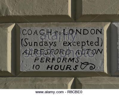 Southampton alte Postkutsche Zeichen nach London Stockbild