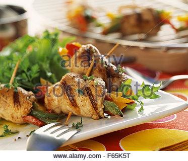 Rindfleisch-Spieße mit Paprika Stockbild