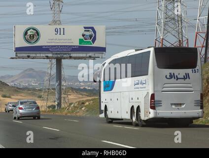 Warnhinweis zur Verwendung des Telefons während der Fahrt, Mekka Provinz, Jeddah, Saudi-Arabien Stockbild