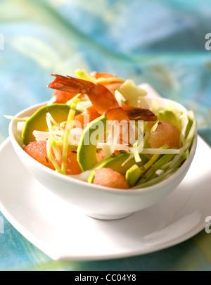 Avocado, Grapefruit und Gambas Salat Stockbild