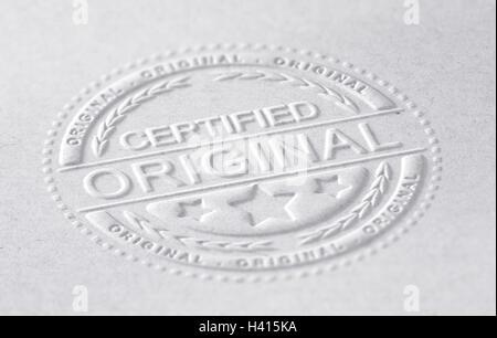 3D Abbildung einer geprägte Briefmarke mit dem Text zertifizierte Original, Papierhintergrund, horizontales Stockbild