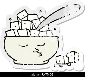 Distressed Aufkleber einer Cartoon Sugar Bowl Stockbild