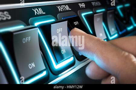Viele Tasten hintereinander mit unterschiedlichen Programmier Sprachen Namen. Ein Finger ist die XML-Schaltfläche Stockbild