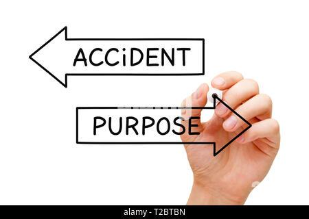 Hand schreiben das Gegenteil Worten Zweck und Unfall Konzept auf zwei Pfeile mit Marker auf transparentem Glas. Stockbild