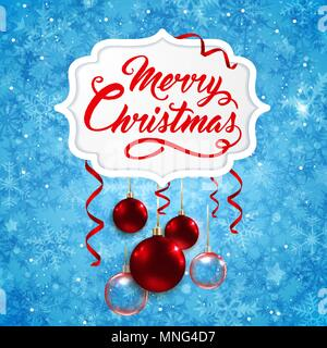 Vektor Weihnachten Banner mit roten Kugeln und Gruß Inschrift auf einem blauen Hintergrund. Frohe Weihnachten Schriftzug Stockbild