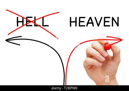 Handzeichnung Himmel oder Hölle Pfeile Konzept mit Marker auf Transparenten abwischen. Stockbild