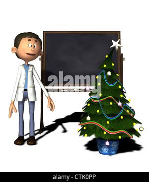 Cartoon Figur Chemiker mit Board und Weihnachtsbaum Stockbild