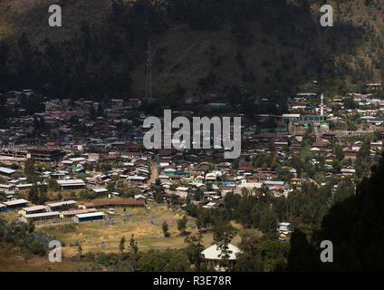 Häuser im Tal, Amhara-region, Dessie, Äthiopien Stockbild