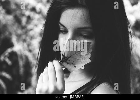 Kreatives Konzept der traurige Teen Mädchen Stockbild