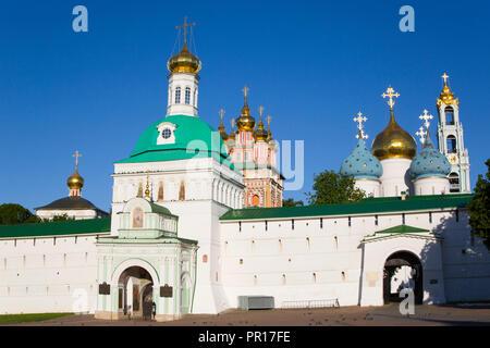 Heilige Tor, der Heiligen Dreifaltigkeit Hl. Sergius Lavra, UNESCO-Weltkulturerbe, Sergiev Posad, Russland, Europa Stockbild
