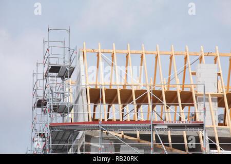 Baustelle, Dach, Dachbalken, Dachabdeckung Stockbild
