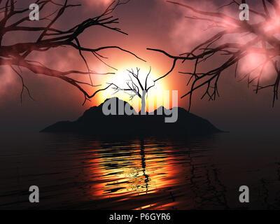 3D-Render von einem unheimlichen Baum auf einer Insel gegen einen Sonnenuntergang Himmel Stockbild