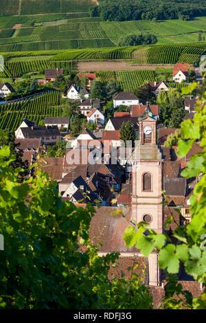 Am frühen Morgen mit Blick auf Eglise Evangelischen und mittelalterlichen Dorf Riquewihr, entlang der Weinstraße, Elsass, Haut-Rhin, Frankreich Stockbild