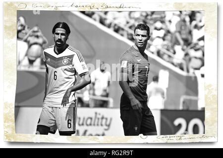 Khedira & Ronaldo, FIFA WM 2014, Salvador da Bahia, Brasilien, Deutschland gegen Portugal Stockbild