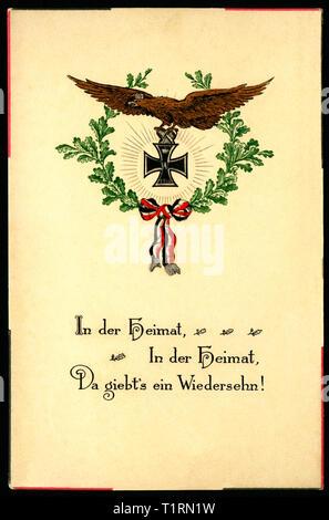 """Deutschland, Schleswig-Holstein, Rendsburg, patriotische Postkarte mit dem Text 'zu Hause - zu Hause - wir werden uns wieder sehen"""", mit Iron Cross und Lorbeer geschickt 11. 11. 1914., Additional-Rights - Clearance-Info - Not-Available Stockbild"""