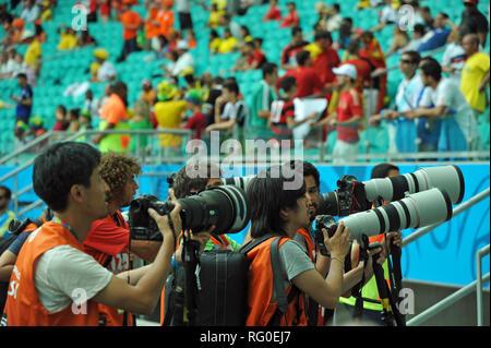 Pressefotografen, Fifa-Championships 2014, Salvador da Bahia, Brasilien Stockbild