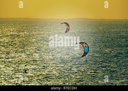 Kitesurfen, Jericoacoara, Ceara, Brasilien Stockbild