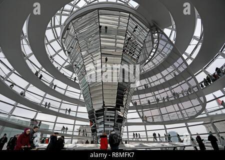 Berlin/Deutschland - vom 15. Dezember 2018: die Besucher rund um die glaskuppel Spaziergang oben auf dem Reichstag, dem deutschen Parlament, in das Zentrum von Berlin. Stockbild