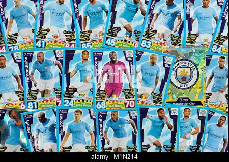Manchester City Fußball-Übertragungen tops attax Sammelkartenspiel überein Stockbild