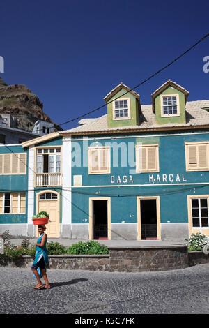 Kapverden, Santo Antao, Ribeira Grande Stadt, koloniale Architektur Stockbild
