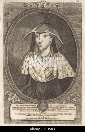 Anna Radziwill (Kostewicz). Von: Icones Familiae Ducalis Radivilianae, 1758. Private Sammlung. Stockbild