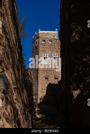 Traditionelles altes Lehmhaus, Asir Provinz, Dhahran al Janub, Saudi-Arabien Stockbild