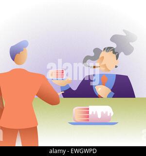 Chef seine Mitarbeiter als Anreiz Stück Kuchen geben Stockbild