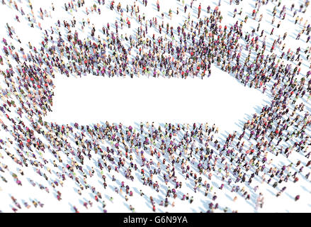 Große Gruppe von Menschen bilden ein Pfeil-Symbol - 3D-Illustration Stockbild