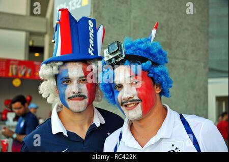 Fifa WM 2014, Französisch Unterstützer, Salvador da Bahia, Brasilien Stockbild