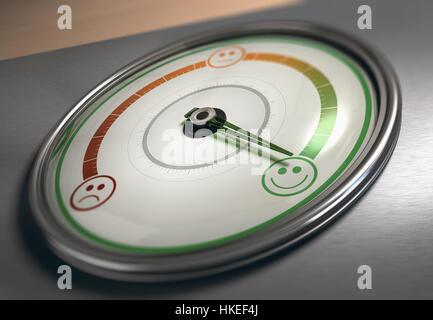 Konzeptionelle 3D Darstellung eines Messgeräts mit Nadel auf das maximale Zufriedenheit Symbol, horizontales Stockbild