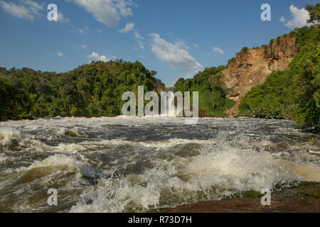 Nil und der Wasserfall am Murchison Falls Nationalpark, Uganda Stockbild