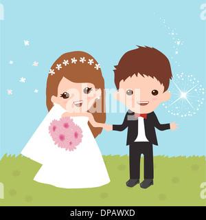 Eine Braut und Bräutigam zusammen stehen Stockbild