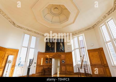 England, London, Greenwich, Royal Observatory, Flamsteed House, das Achteck Zimmer entworfen von Christopher Wren Stockbild