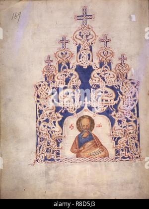 Asaph (aus dem Buch der Psalmen o Iwan IV. der Schreckliche), zweite Hälfte des 14. Jahrhunderts. In der Sammlung der Russischen Staatsbibliothek in Moskau gefunden. Stockbild