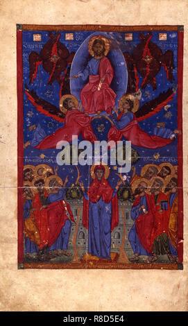 Die Auferstehung (Manuskriptillumination aus dem Matenadaran Evangelium), 1356. In der Sammlung von Mesrop Mashtots Institut für alte Handschriften (Matenadaran), Jerewan gefunden. Stockbild