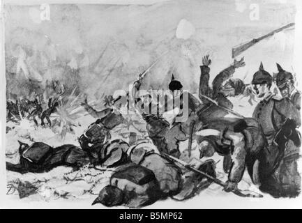 9 1914 11 10 A1 E 1. Weltkrieg westliche Front des 1. Weltkrieges westlichen Front Storming Feind Positionen in Stockbild