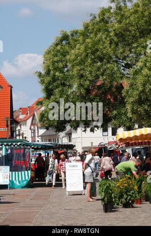 Obernstrasse Fussgängerzone mit Wochenmarkt, Achim, Niedersachsen, Deutschland, Europa Stockbild