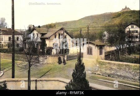 In Radebeul Spitzhaus, Gebäuden, Straßen in Oberlößnitz, 1907, Landkreis Meißen, Radebeul, Oberlößnitz, Bennostraße, Deutschland Stockbild