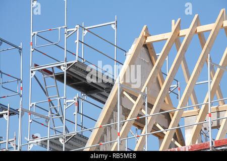 Baustelle, Dach, Dachbalken, Dachabdeckung, Bremen, Deutschland, Europa Stockbild