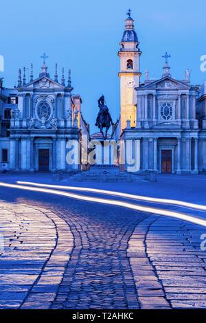 San Carlo und Santa Cristina auf der Piazza San Carlo in Turin. Turin, Piemont, Italien Stockbild