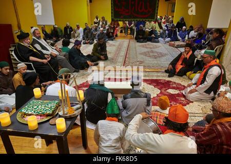 Sufi Moslems treffen in Paris, Frankreich, Europa Stockbild