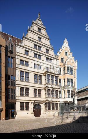Leibnithaus, Renaissance Town House ab 1499, am Holzmarkt, Hannover, Niedersachsen, Deutschland, Europa ich Leibnithaus, renaissance-bürgerhaus von 1499 Stockbild