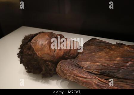 Mumifizierten Überreste eines Mannes. Barranco de Herques, Teneriffa, Kanarische Inseln, Spanien. Nationales Stockbild